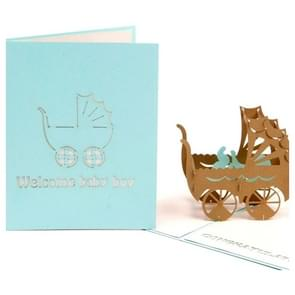 Handmade Creative 3D Three-dimensional Pink Blue Baby Carriage Paper Cut Engraving Greeting Card(Green)