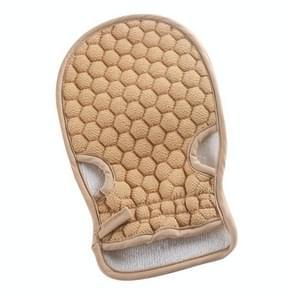 Bath Body Shower Gloves Skin Exfoliating SPA Massage Mitt Lattice Particles Washcloth(Beige)