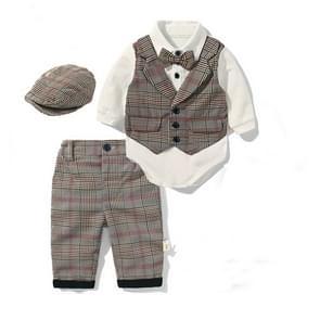 Boys British Style Long-sleeved Jumpsuit Romper + Plaid Beret + Plaid Pants Set, Size:70cm(Khaki)
