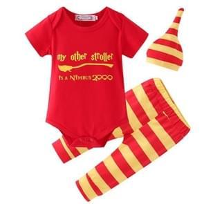 Spring and Autumn Infant Letters Pattern Short Sleeve Triangle Romper + Horizontal Stripe Pants + Horizontal Stripe Hat Set, Size:90cm