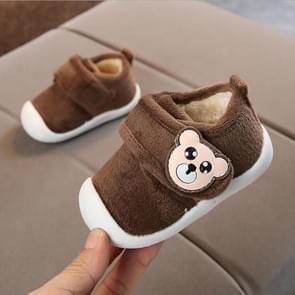 Baby Plus Velvet Thick Warm Coral Fleece Soft Bottom Non-slip Cotton Shoes, Size:16(Brown)