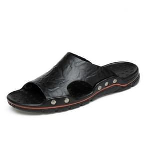 Men Casual Beach Shoes Slippers Microfiber Wear Sandals, Size:37(Black)