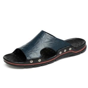Men Casual Beach Shoes Slippers Microfiber Wear Sandals, Size:40(Blue)