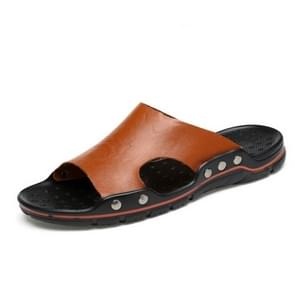 Men Casual Beach Shoes Slippers Microfiber Wear Sandals, Size:44(Brown)
