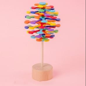 Solid Wood Roterende Lollipop Fischer Serie Creatieve Ornamenten Decompressie Speelgoed Decompressie Artefact (Multi-gekleurde Wafer)