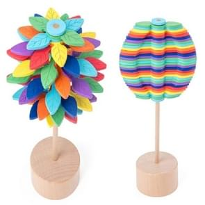 Solid Wood Rotating Lollipop Fischer Series Creative Ornaments Decompression Toy Decompression Artifact(Leaves)