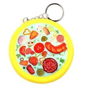 Leuke pizza decompressie Toy druk Relief sleutelhanger  grootte: 8.5 * 2cm (geel)