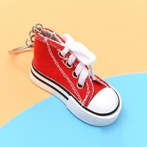 2 PCS Mini Simulatie Canvas Schoenen Sneaker sleutelhanger Hanger (Rood)