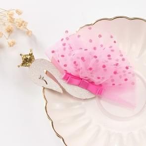 2 PCS Fashion Princess Swan Headdress Kids Hair Clips Hairpins(Coral Red)