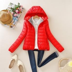 Warme winter Parka jas dames vrouwen slanke korte jas  maat: XL (rood)