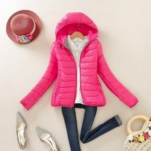 Warme Winter Parka Jas Dames Slim Korte Jas  Maat:XXL(Rose Red)