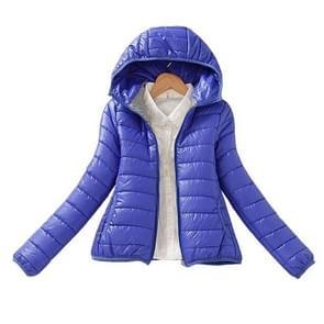 Warm Winter Parka Jacket Ladies Women Slim Short Coat  Size:XXL(Blue)