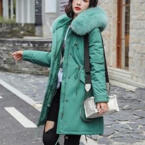 Katoenen liner warme jas waterdichte jas vrouwen slanke lange vacht vrouwelijke winter Big Fur Hooded parka jassen (groen)