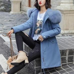 Katoen liner warme jas waterdichte jas vrouwen slanke lange vacht vrouwelijke winter Big Fur Hooded parka jassen  maat: XXL (blauw)