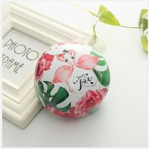 Romantic Valentine Day Candy Box Flat Round Candy Box Jewelry Gift Bird Box Tote Home Garden Festive Party Supplies, Color:Flamingo