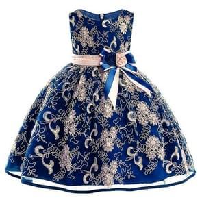 Girls Gold Silk Embroidery Sleeveless Dress Wedding Dress, Size:150cm(Dark Blue)