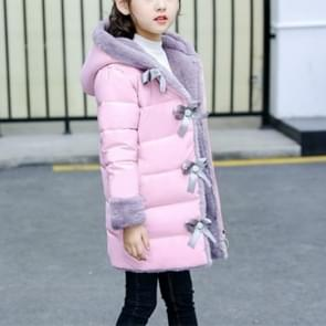 Winter Girls Mid-length Thick Warm Bow-knot Hooded Cotton Clothes Jacket, Kid Size:150cm(Pink)