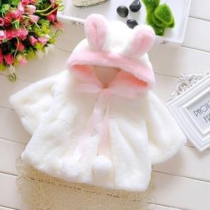 Female Baby Cartoon Rabbit Ears Shape Hooded Imitation Rabbit Fur Shawl Coat, Kid Size:73cm(White)