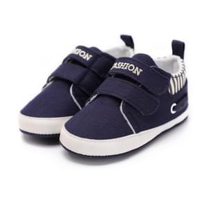 Newborn Baby Canvas Two Strap Prewalker Shoes, Size:11cm(Dark Blue)