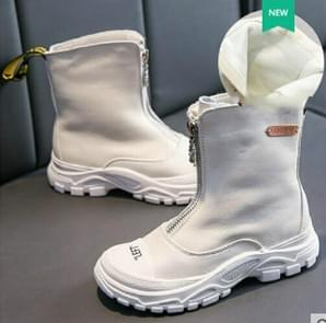 Children's Shoes  Autumn New boys girls Martin boots Anti-kick Soft bottom Wearable leather boots White (cloth), Size:28
