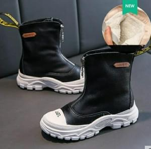 Children's Shoes  Autumn New boys girls Martin boots Anti-kick Soft bottom Wearable leather boots Black (velvet), Size:27