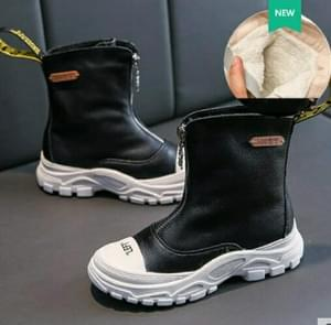 Children's Shoes  Autumn New boys girls Martin boots Anti-kick Soft bottom Wearable leather boots Black (velvet), Size:34
