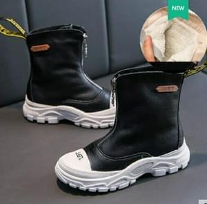 Children's Shoes  Autumn New boys girls Martin boots Anti-kick Soft bottom Wearable leather boots Black (velvet), Size:36