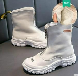 Children's Shoes  Autumn New boys girls Martin boots Anti-kick Soft bottom Wearable leather boots White (velvet), Size:28