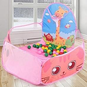 Kids Indoor Outdoor Safe Tent Children Foldable Playpens Game Cartoon Throwing Basketball Pool For Kids(Pink)