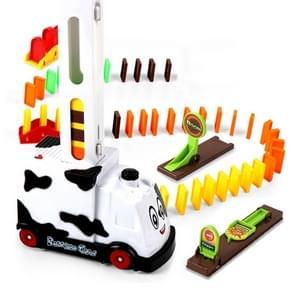 Puzzel Domino auto elektrische trein met geluid en lichte muziek automatische licentieverlening elektrische auto speelgoed (witte koe)