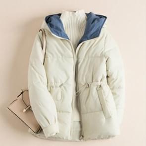 Donsjack pure kleur met dikke dons kleren Hooded katoen Cadded jas  maat: XL (beige)