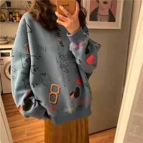 Fashion Wild Wasual Wind Long-sleeved Sweater, Size:XL(Blue)
