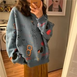 Fashion Wild Wasual Wind Long-sleeved Sweater, Size:XXL(Blue)