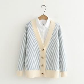 Loose Striped Cardigan Long-Sleeved V-neck Sweater, Size:One Size(Blue)