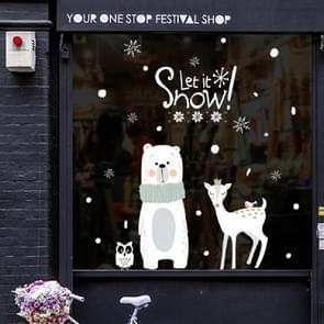 Christmas Cute Little Bear Deer Glass Sticker Mall Shop Window Sticker, Size:60x90CM