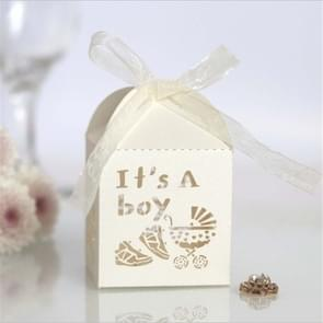 100 PCS Baby Shower Party Candy Box Wedding Gift Box, Size: 5 x 5 x 8cm(Ivory)