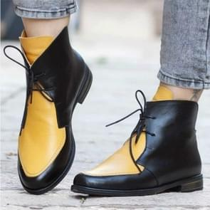 Women Ankle Boots Lace UpLeather Women Shoes, Size:38(Yellow)