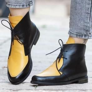 Women Ankle Boots Lace UpLeather Women Shoes, Size:39(Yellow)