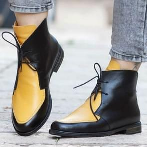 Women Ankle Boots Lace UpLeather Women Shoes, Size:40(Yellow)