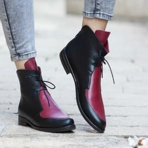 Women Ankle Boots Lace UpLeather Women Shoes, Size:41(Red)