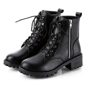 Round Head Low-profile Women Ankle Boots, Shoes Size:38(Black)