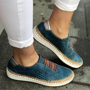 Women Breathable Hollow Out Female Casual Flats Shoes, Size:41(Blue)