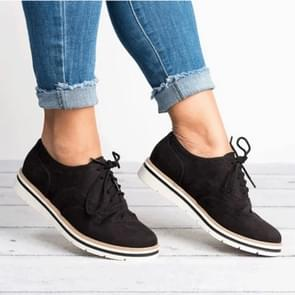 Flats Casual Lace-up Pointed Toe Slip Shoes, Shoes Size:43(Black)