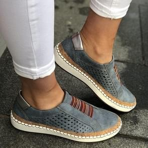 Hollow Hand-stitched Striped Breathable Casual Women Flat Sneaker, Shoes Size:35(Blue)