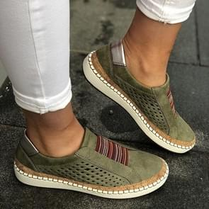 Hollow Hand-stitched Striped Breathable Casual Women Flat Sneaker, Shoes Size:42(Green)