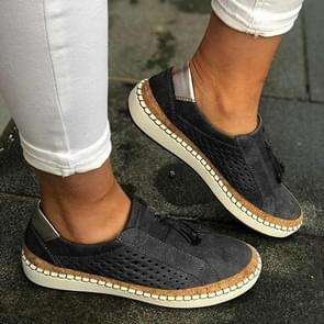 Breathable Sneakers Women Flats, Size:37(Black)