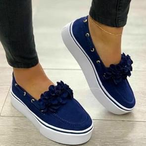 Women Floral Flat Bottom Casual Shoes, Shoe Size:35(Blue)