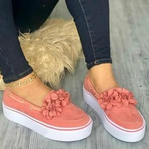 Women Floral Flat Bottom Casual Shoes, Shoe Size:42(Pink)