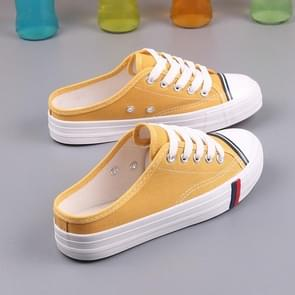 Wild Flat Casual Shoes Half Slippers Canvas Shoes, Size:38(Yellow)