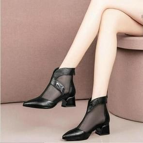 Mesh Fashion puntige hoofd ademend holle laarzen  schoenmaat: 35 (zwart)